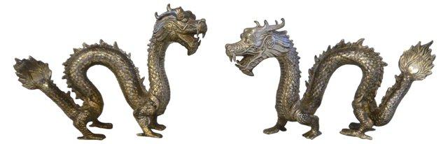 Metal Asian Dragons, Pair