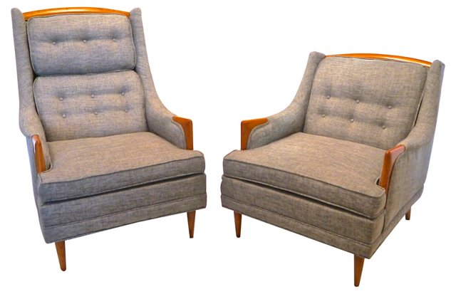 1960s Lounge Chairs w/  Linen, Pair