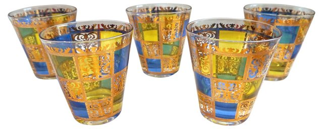 Culver Blue & Gold Tumblers, S/5