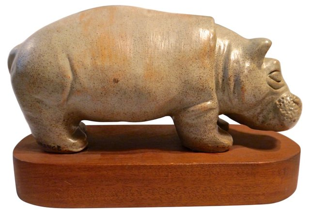 Signed Midcentury Hippo Sculpture