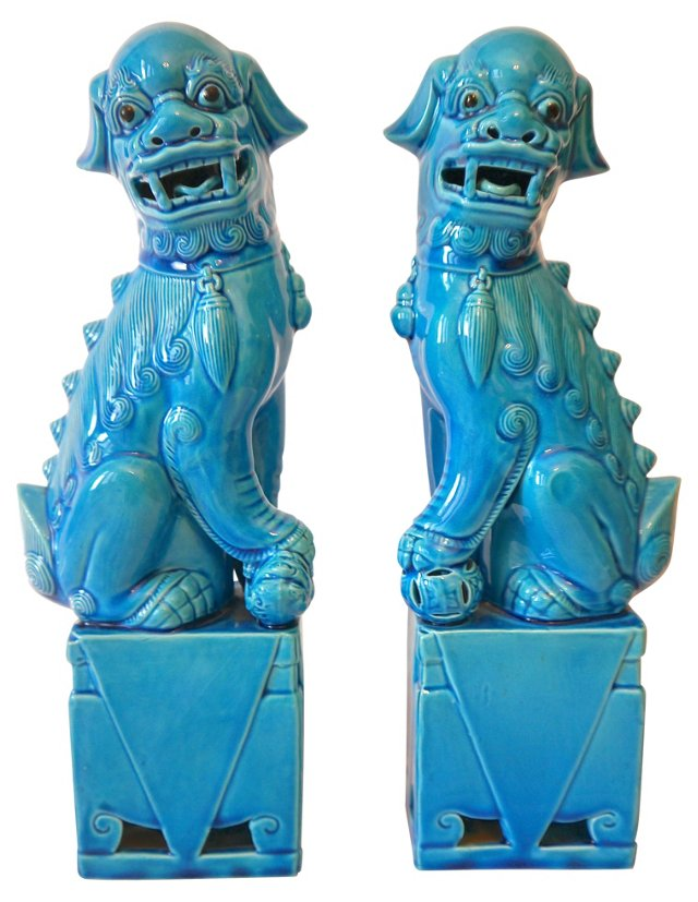 1960s Ceramic Foo Dogs, Pair