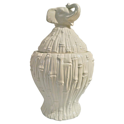 Italian Bamboo-Motif Elephant Jar