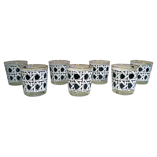 1960s Black & White Caned Tumblers, S/7
