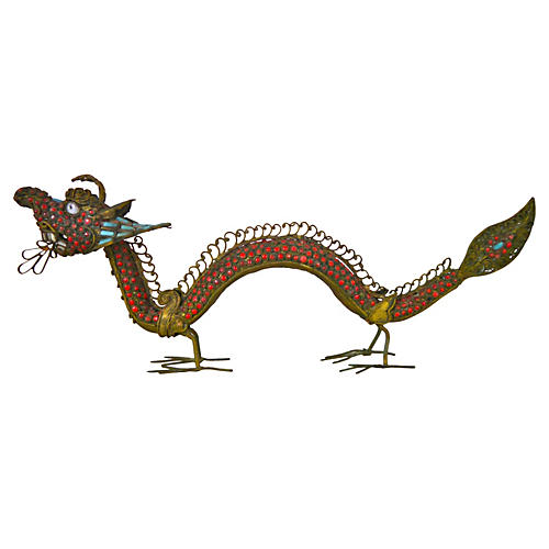Tibetan Brass Dragon Censer