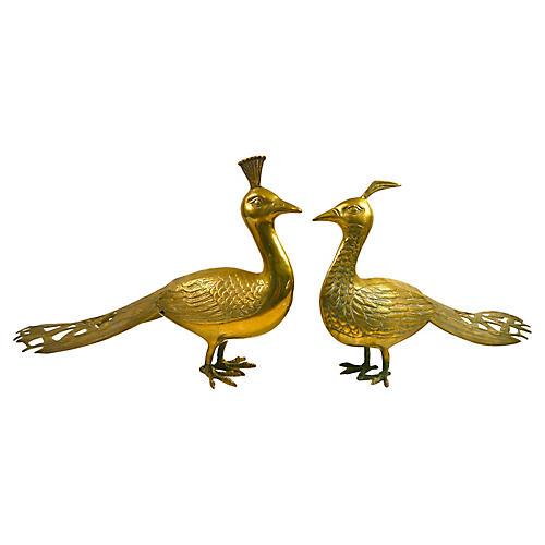 Oversize Brass Peacocks, S/2