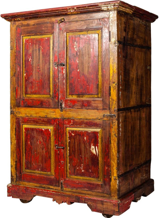 19th-C. Gujarat Painted Cabinet