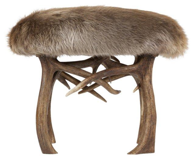 Elk Antler & Beaver  Stool