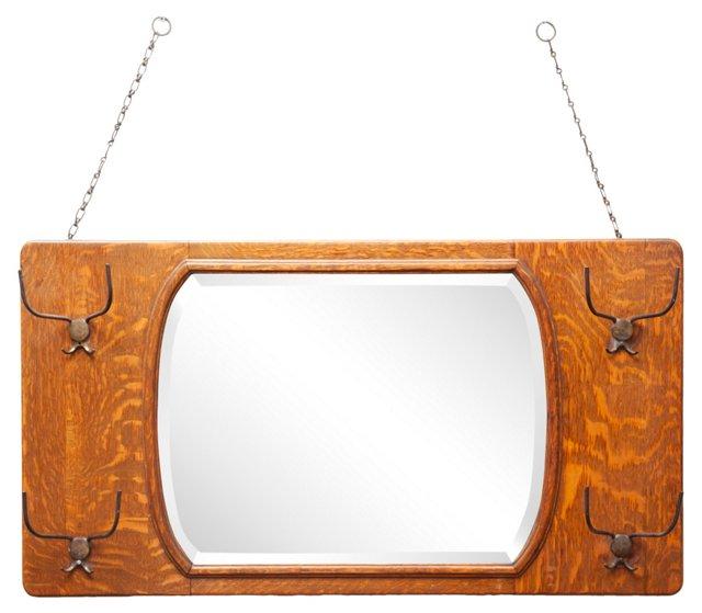 Beveled Mirror w/ Hat Hooks