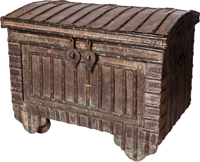 19th-C. Brass & Wood Trunk