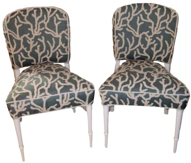 Coral Accent Chairs, Pair