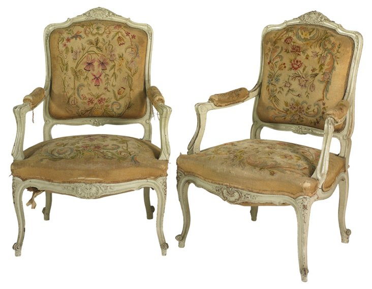 English Louis XV-Style Armchairs, Pair