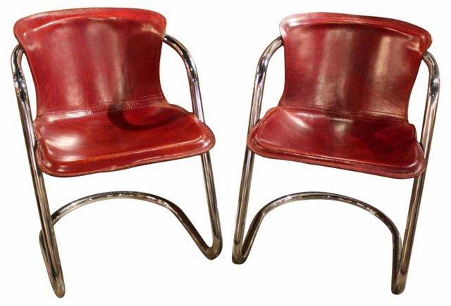 Italian Leather &  Chrome Chairs, Pair