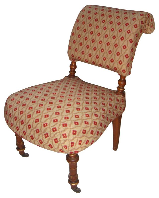 19th-C. Smoking Chair w/ Tapestry