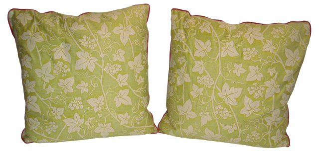 Fortuny Grapevine Fabric Pillows, Pair