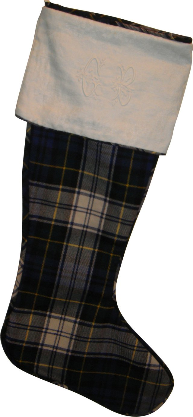Tartan Plaid Stocking w/ Antique Linen