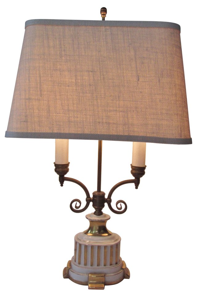 19th-C. Italian Brass Table Lamp