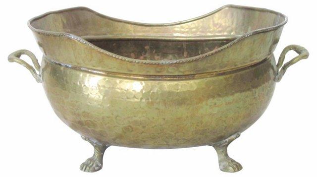 Hammered Brass Footed Cachepot