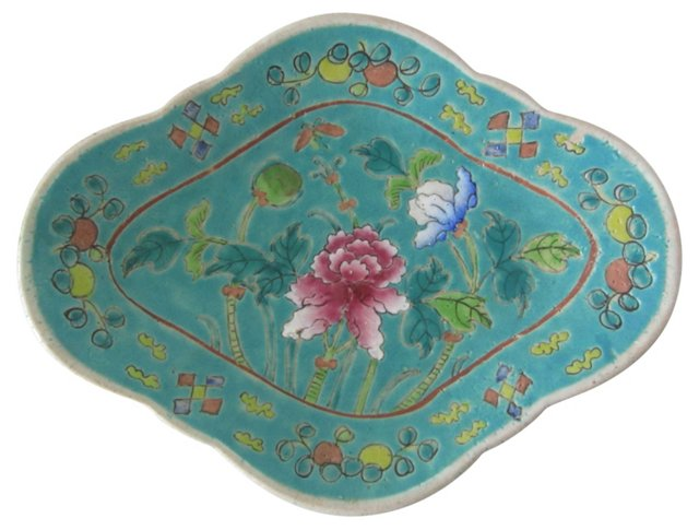 Majolica Turquoise Floral Dish