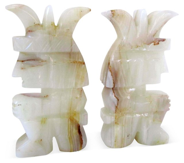 Mayan God Polished Onyx Bookends