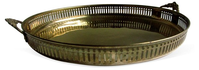 Solid Brass Filigree Tray w/ Handles