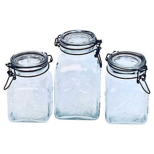 Italian Glass Preserve Jars, S/3