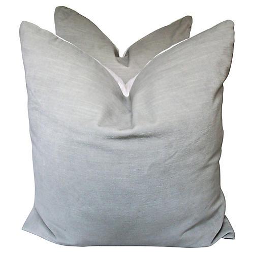Gray European Linen/Velvet Pillows, Pair