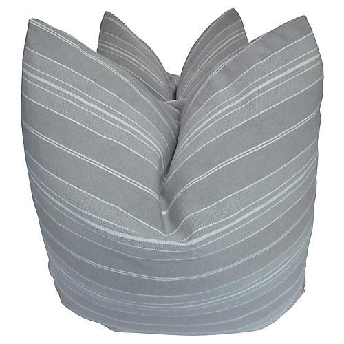 Gray Ticking Pillows, S/2