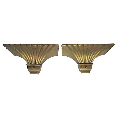 Fluted Brass Sconces by Chapman, S/2