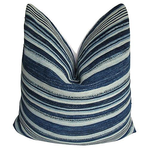Malian Striped Indigo Blue Pillow