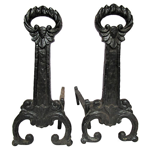 Antique Scrolled Iron Andirons, S/2