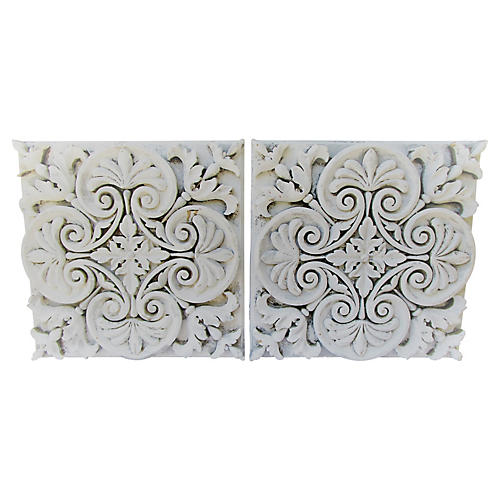 Carved Acanthus Wall Panels, S/2