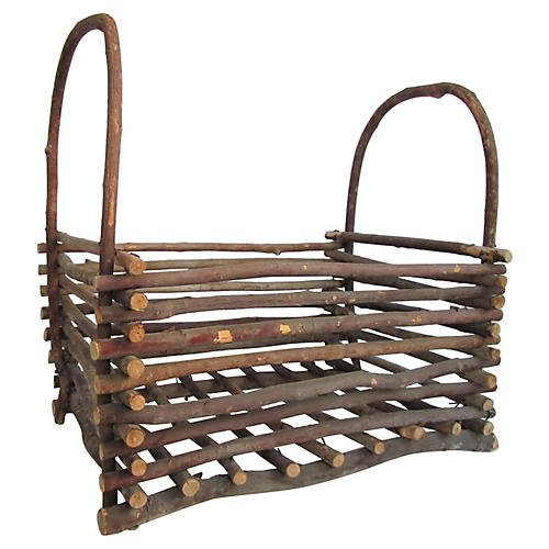 Stacked-Twig Willow Basket