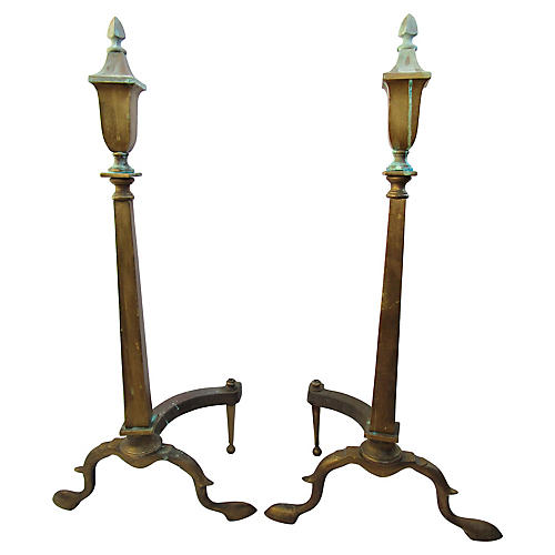 19th-C. French Bronze Andirons, S/2