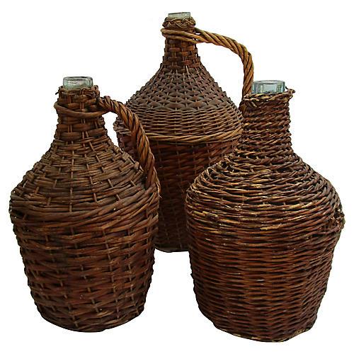 French Demijohn Bottles, S/3