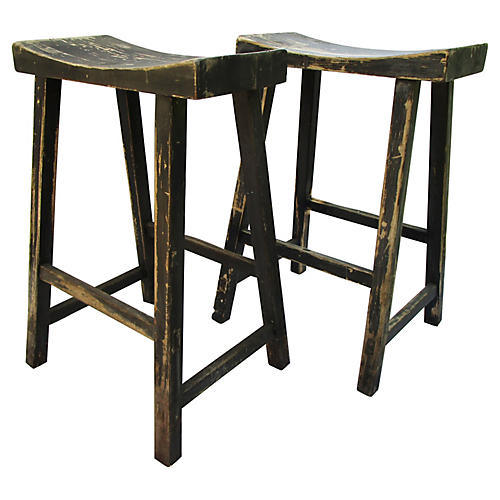 Farmhouse Counter Stools, Pair