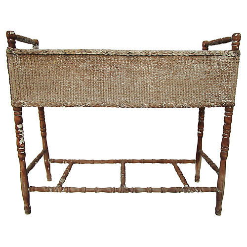 1940's Spindle Wicker Planter