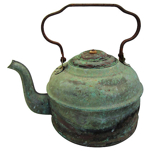19th-C. Patinated Copper Kettle