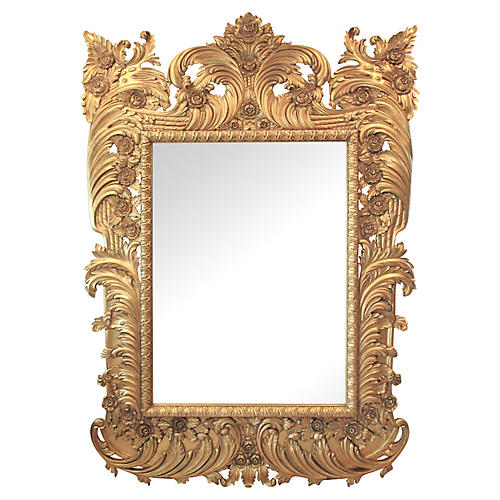 "89"" Italian Carved Gilded Mirror"
