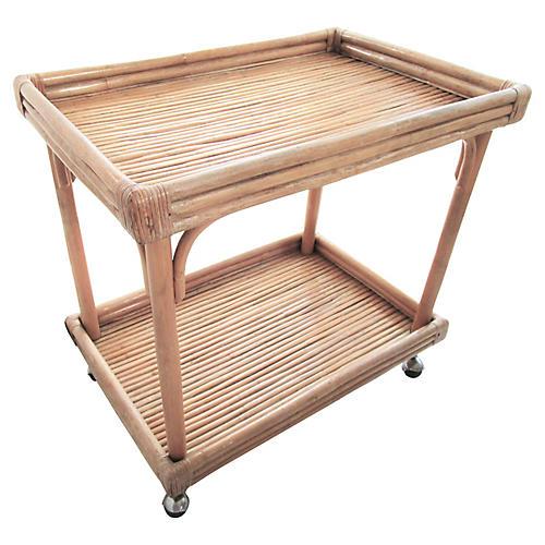 Mid-Century Bamboo Bar Cart