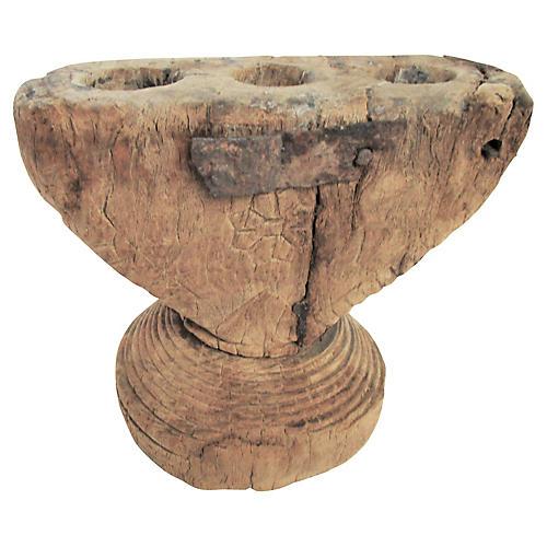 19th-C. Carved Elm Candelabrum