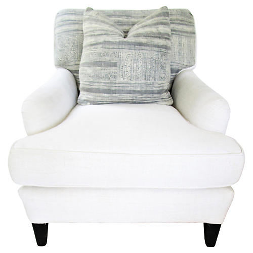 French Linen & Tribal Slope Chair