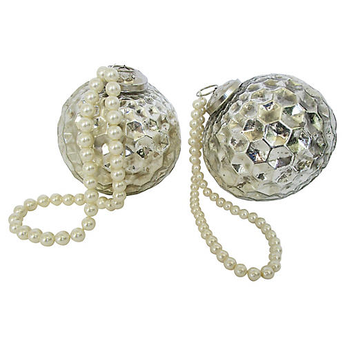 Silver Christmas Ornaments S/2
