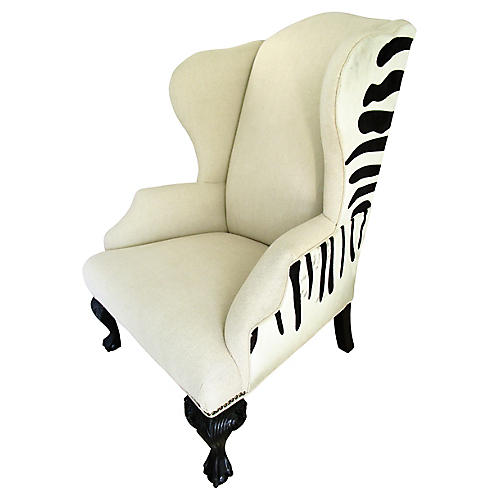 Queen Anne-Style Zebra Wingback Chair