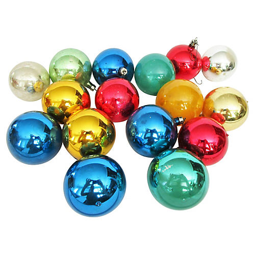 European Glass Christmas Ornaments S/16