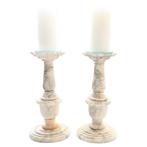 Carved Alabaster Candleholders, Pair