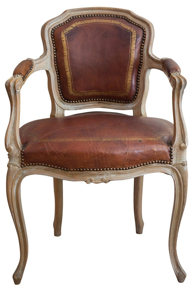 French-Style Fauteuil w/ Leather