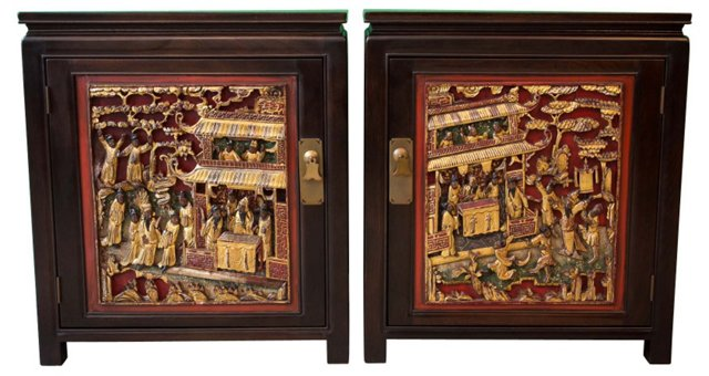 Cabinets w/ Chinese Panels, Pair