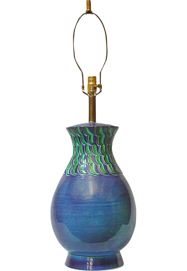 Mediterranean Blue Italian Pottery Lamp