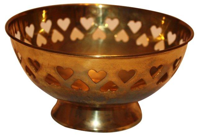 Brass Bowl w/ Pierced Heart Design