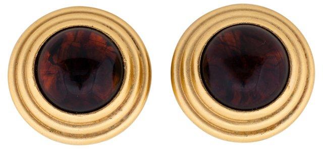 YSL Gold Amber Clip Earrings